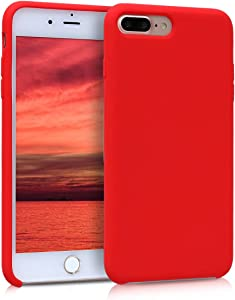 kwmobile TPU Silicone Case Compatible with Apple iPhone 7 Plus / 8 Plus - Soft Flexible Rubber Protective Cover - Red