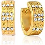 Mahi Eita Collection White Gold Plated Crystal Stones Hoop Earrings For Women-ER1100313G