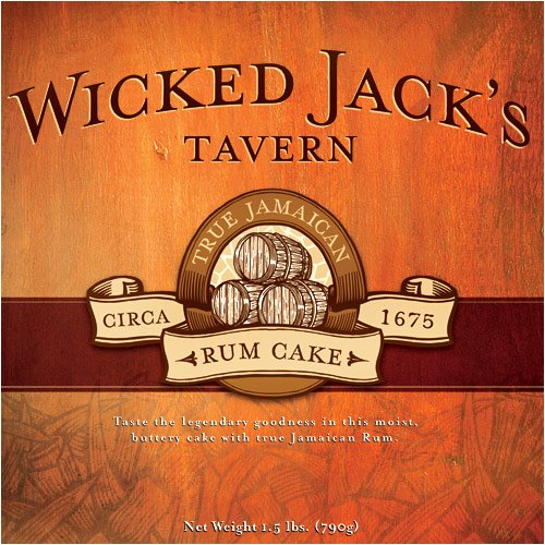 Wicked Jacks Tower of 33-oz, 20-oz and 4-oz of Butter Rum, Chocolate Rum and Caramel Rum Cakes