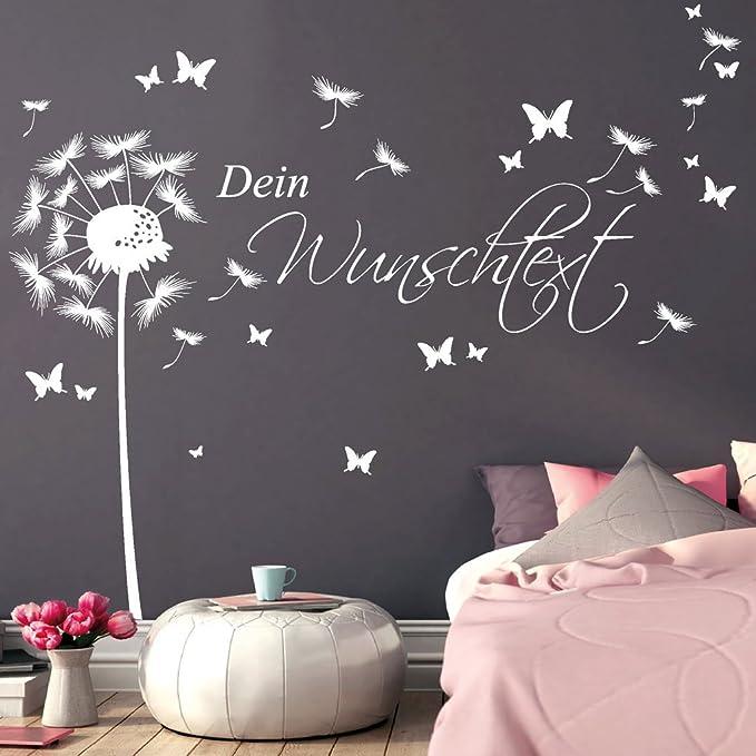 Wandtattoo Loft Wandtattoo U201ePusteblume Schmetterling Mit Ihrem Wunschtext  15 Wörter Frei Wählbar/Wandaufkleber / Wandsticker / 54 Farben / 3  Größen/gold / 1 ...