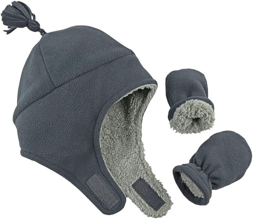 N Ice Caps - Gorro de esquí y manoplas para niños (forro polar) Gris ... cd80f2f3558