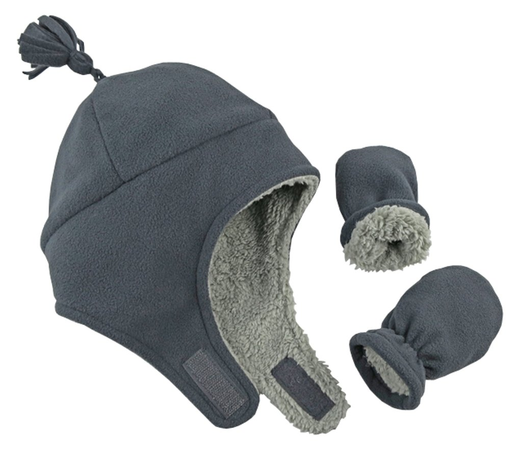 N'Ice Caps Little Boys and Baby Sherpa Lined Micro Fleece Pilot Hat Mitten Set (Charcoal Gray Infant, 6-18 Months) by N'Ice Caps (Image #1)