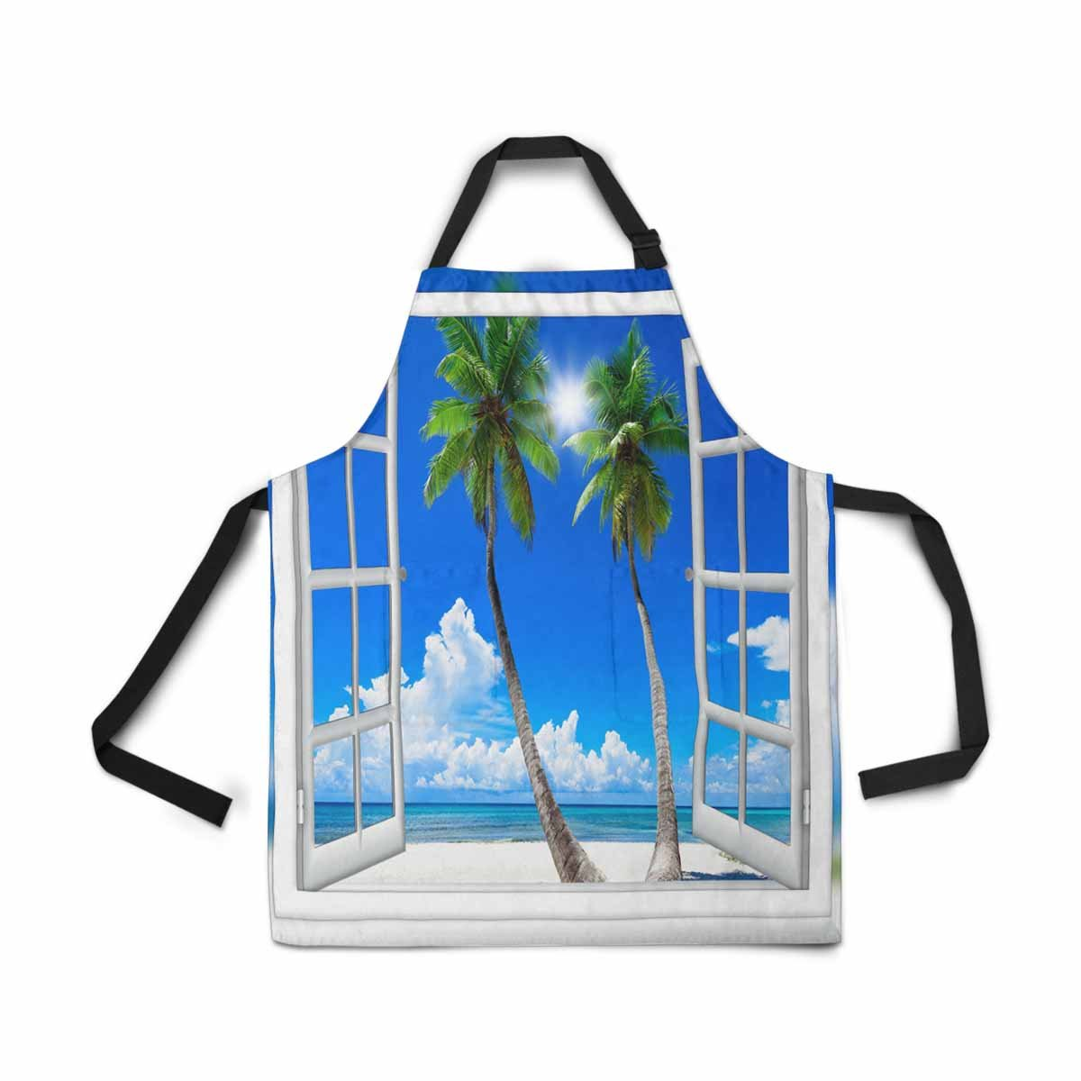 InterestPrint Adjustable Bib Apron for Women Men Girls Chef with Pockets, Summer Sunny Day Window View Sea Beach Palm Tree Novelty Kitchen Apron for Cooking Baking Gardening Pet Grooming Cleaning