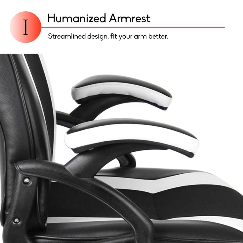 Kontorsstolar, justerbar svängbar hög rygg ergonomisk lyft datorspelstol med låg ljudnivå och slitstark remskiva för hemmakontor, röd Vitt