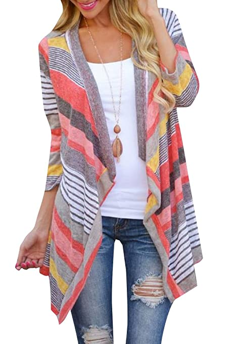 ANDYOU Women's Open Front Fashion Striped Sleeves Cardigan Sky Blue M