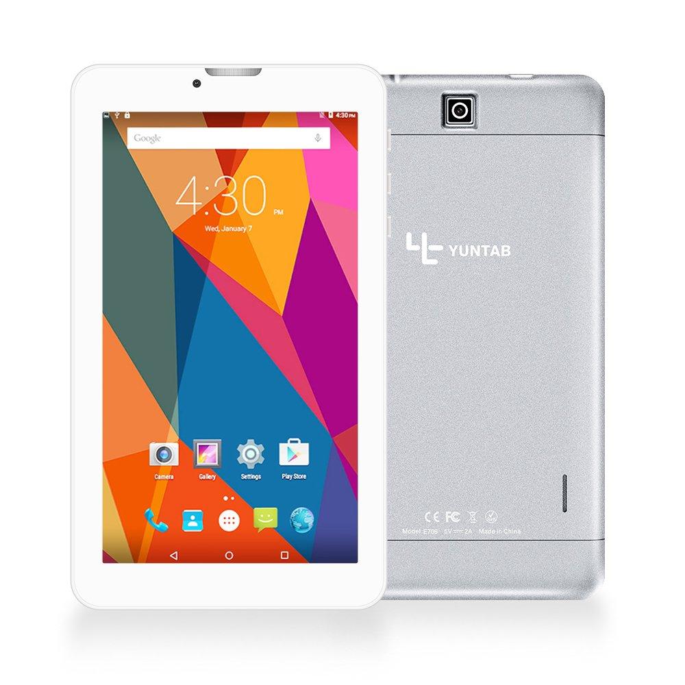 Yuntab Quad Core Tablet PC 7 pollici 8GB 1024 x 600 Android 6.0 1.3 GHz Dual SIM 3G WiFi (Nero opaco) WaveMultimedia Alloy E706