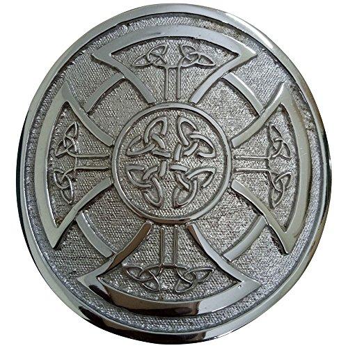 Round Celtic Knot Kilt Belt Buckle/Highland Belt Buckle Celtic Antique/Chrome -