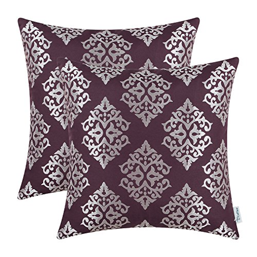 CaliTime Pack of 2 Soft Jacquard Throw Pillow Covers Cases Couch Sofa Home Decoration Vintage Damask Floral 18 X 18 inches Aubergine (Silver And Purple Pillows)