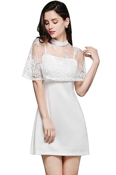 Babyonlinedress Vestido blanco corto de fiesta para bodas vestido de novia cuello redondo sin mangas con