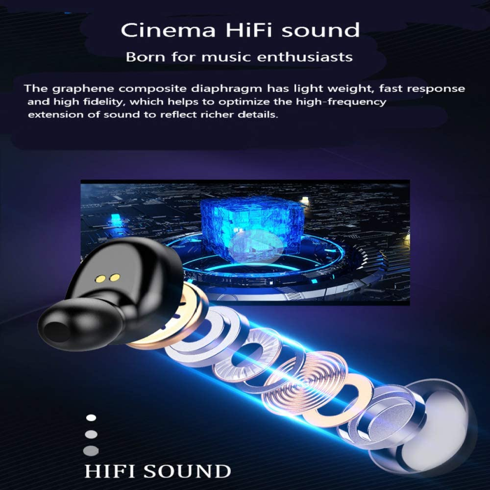 JHMAOYI Cuffie Cuffie Bluetooth biauricolari 5.0 Cuffie sportive con display a doppia chiamata