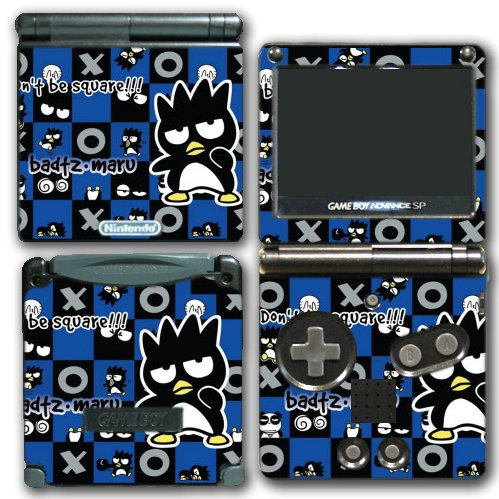 Bad Badtz Maru Panda Checkers Video Game Vinyl Decal Skin Sticker Cover for Nintendo GBA SP Gameboy Advance System (Checkers Handheld)