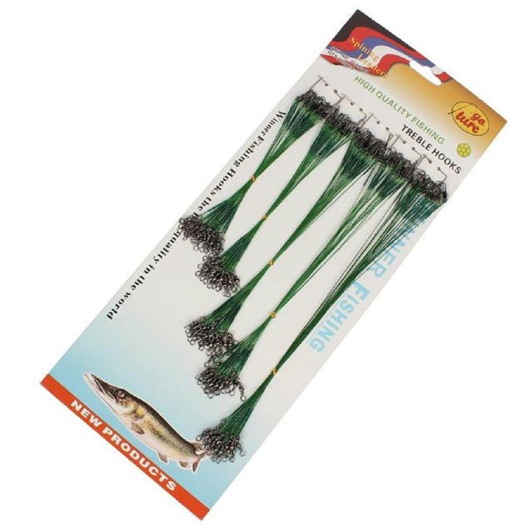 HARRYSTORE 100 pcs Fishing Trace Lures Leader Steel Wire Spinner 16//18//22//24//28cm Green