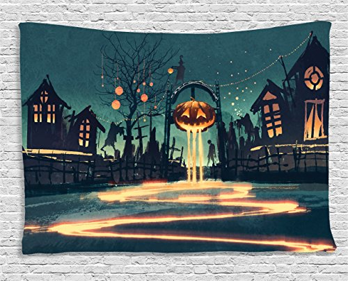 Ambesonne Fantasy Art House Decor Tapestry by, Halloween Theme Night Pumpkin and Haunted House Ghost Town Artful, Wall Hanging for Bedroom Living Room Dorm, 60WX40L Inches, Teal Orange]()