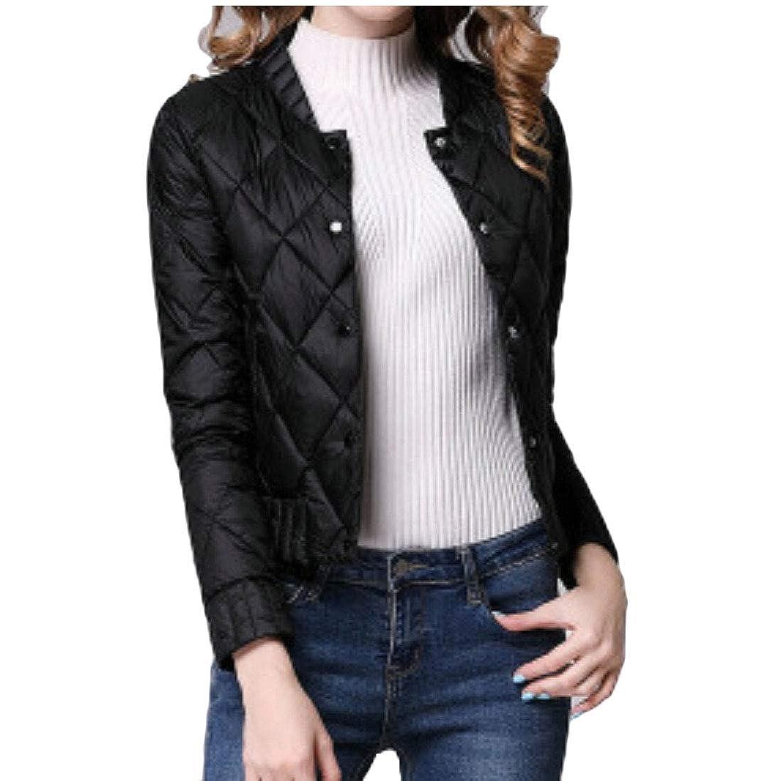 Black LEISHOP Womens Warm Puffer Parkas Winter Stand Collar Coat Jackets
