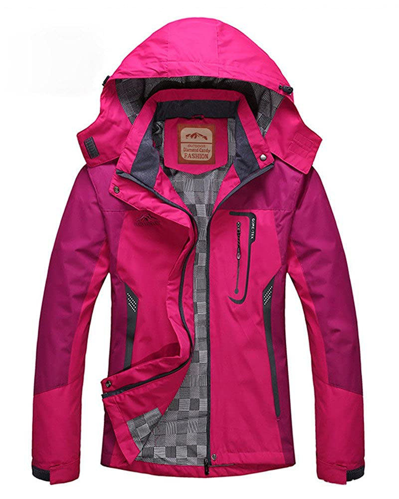 Diamond Candy Sportswear Women's Waterproof Jacket Outdoor raincoat Hooded Softshell OJW002-Hot Pink XXL