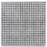 Carrara White Italian Carrera Marble Square Mosaic Tile 3/8 x 3/8 Honed