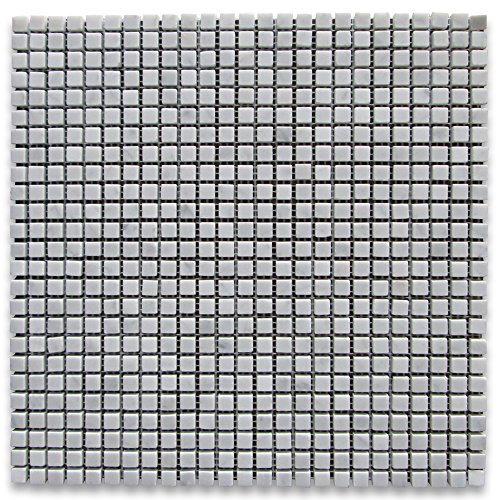 Square Marble Mosaic - Carrara White Italian Carrera Marble Square Mosaic Tile 3/8 x 3/8 Honed