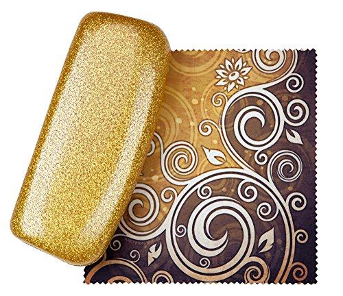 Gold Medium Premium Fashion Women's Hard Eyeglasses Case | Smooth Glitter | Bonus Cleaning - Case Kids Glasses