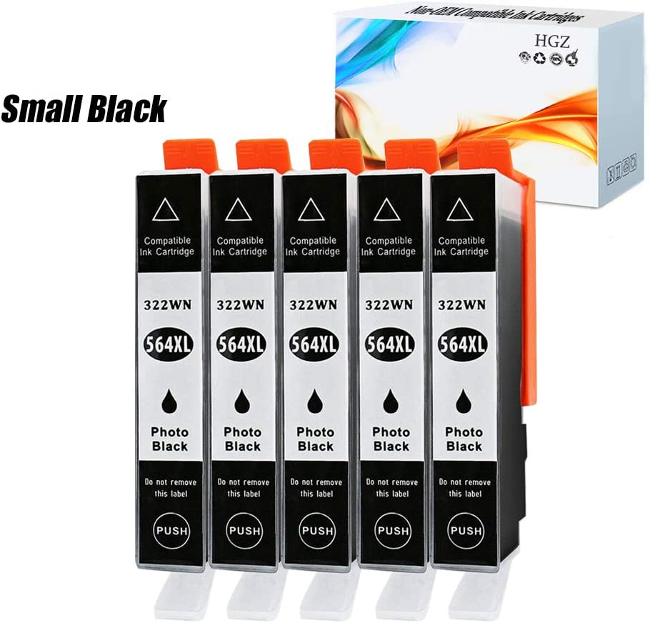 HGZ 5 Pack HP564 XL Photo Black Compatible Ink Cartridge Replacement for HP 564 XL 564XL High Yield Compatible with Photosmart 5520 6510 6520 7510 7520 7515 C6380 C310 (5 Small Black)
