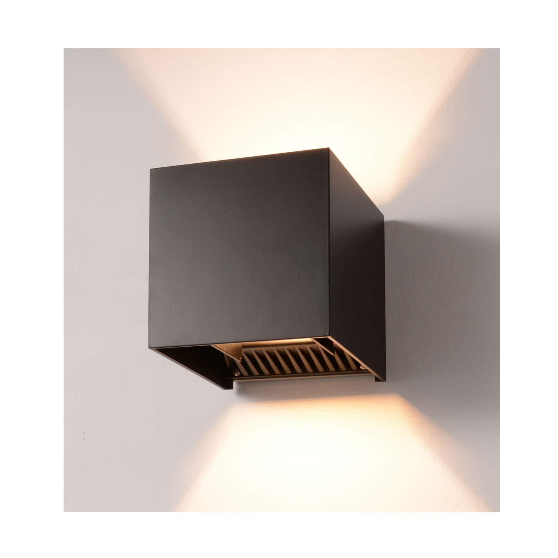 LED Exterior Wall Lamp,4.7'' Adjustable Outdoor Porch Wall Mounted Lighting Fixtures,12W Warm Light 3200K 丨Aluminum Waterproof IP65 (Black)