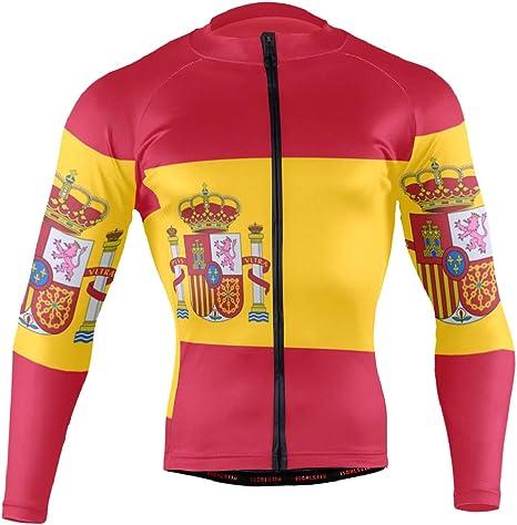 Camiseta de Ciclismo para Hombre, Manga Larga con 3 Bolsillos Traseros, Camisa de Bandera de España: Amazon.es: Deportes y aire libre