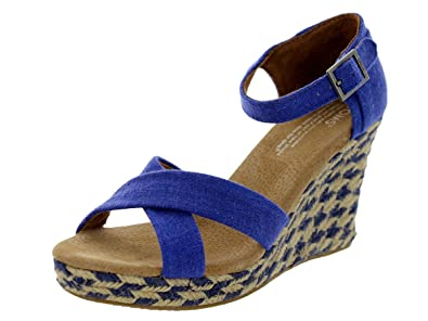 dff714e6e04 Amazon.com | Toms Women's Strappy Wedges Blue Mixed Rope (6) | Sandals
