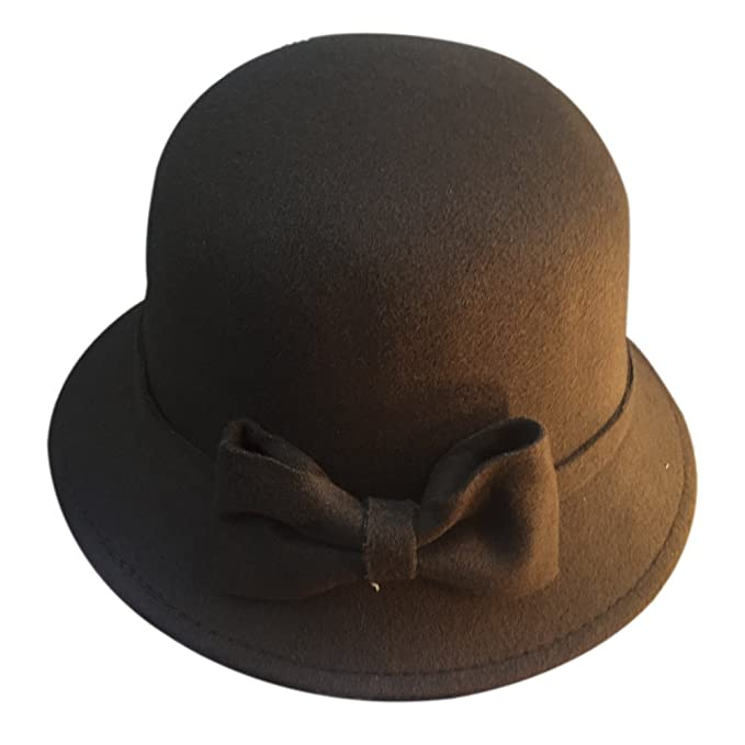 0afecbc3100 Image Unavailable. Image not available for. Color  ChezAbbey Women s Winter  Wool Bowknot Bowler Hat ...