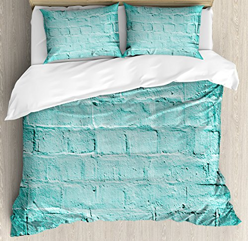 Ambesonne Mint Duvet Cover Set King Size, Brick Old Wall Background in Vibrant Tones Architecture Urban Building Picture, Decorative 3 Piece Bedding Set with 2 Pillow Shams, Turquoise