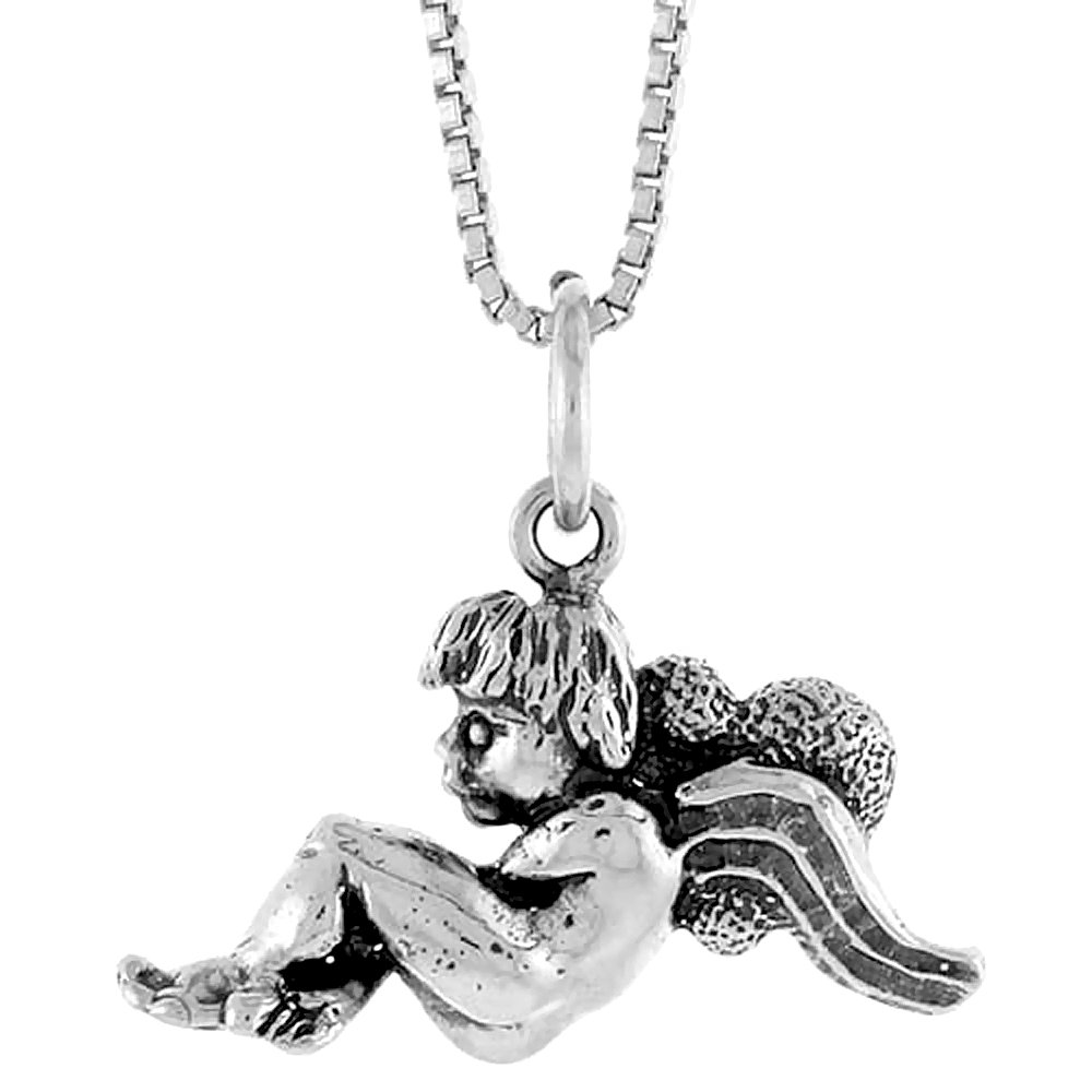 Sterling Silver Angel Pendant 1//2 inch Tall
