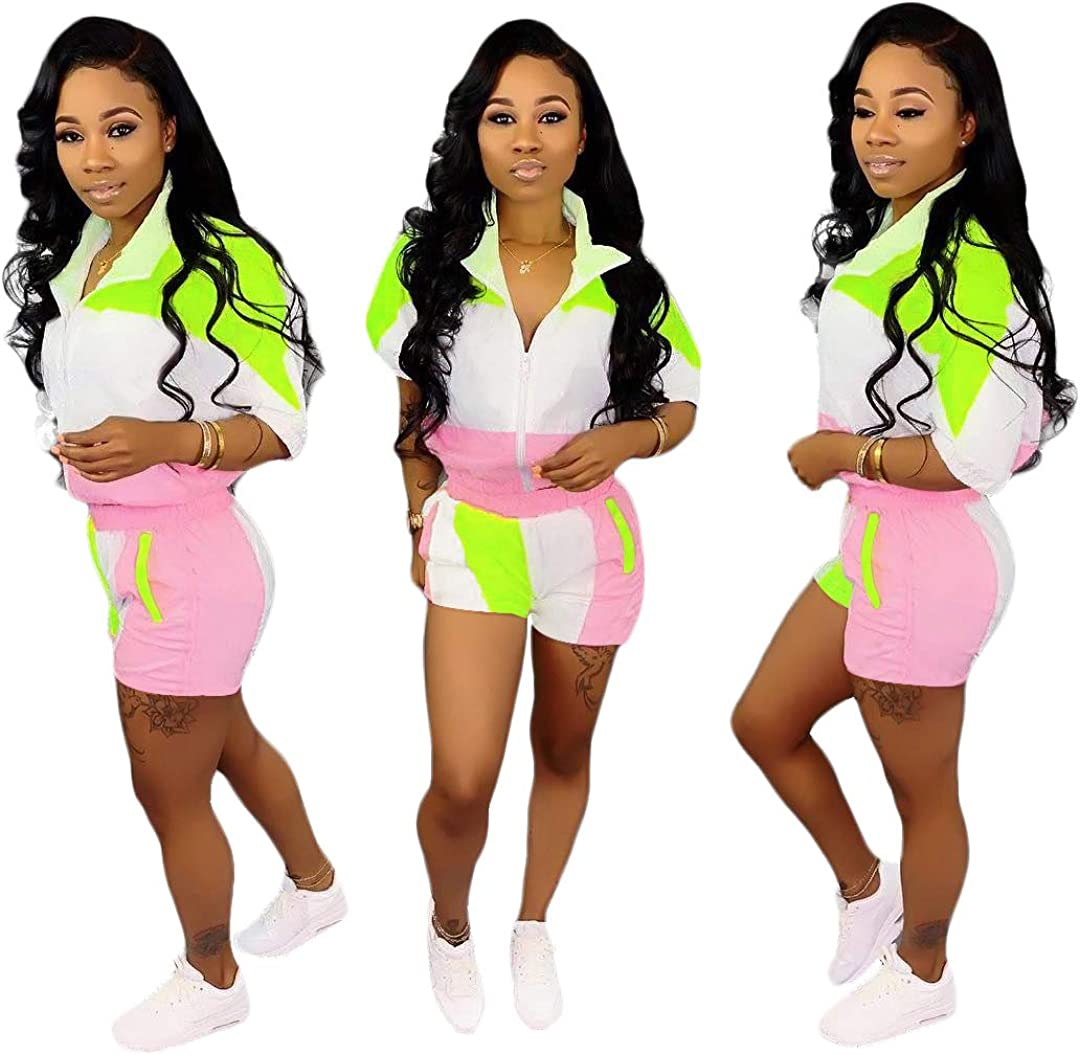 Molilove Women 2 Piece Windbreaker Tracksuit Zip Jacket Crop Tops and Shorts Pants Tracksuit Outfits
