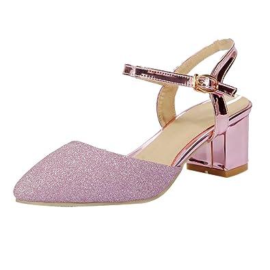 AIYOUMEI Glitzer Pumps mit Blockabsatz Damen Riemchen High Heels Spitze Schuhe