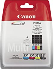 Canon CLI-551 Cartouche C/M/Y/BK Multipack Cyan, Magenta, Jaune, Noire (Multipack plastique)
