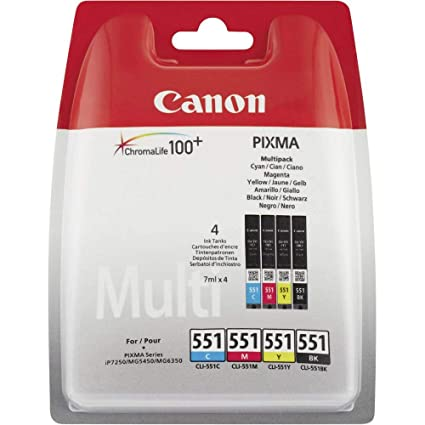 Canon CLI-551 4 Cartuchos Multipack de tinta original Negro/Cian ...