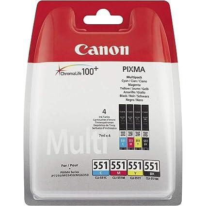 Canon CLI-551 4 Cartuchos Multipack de tinta original Negro/Cian/Magenta/Amarillo para Impresora de Inyeccion de tinta Pixma ...