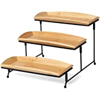 Nature's Kitchen 3 Tier Serving Tray, Bamboo Rectangle 12 x 5.75 Inch Serving Platters, Tiered Serving Stand for…