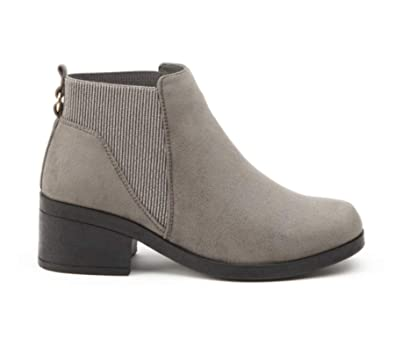 d39fbf1d4873 Definitely You Ladies Womens Flat Chelsea Ankle Boots Faux Suede Low Block  Heel Casual Elastic Pull