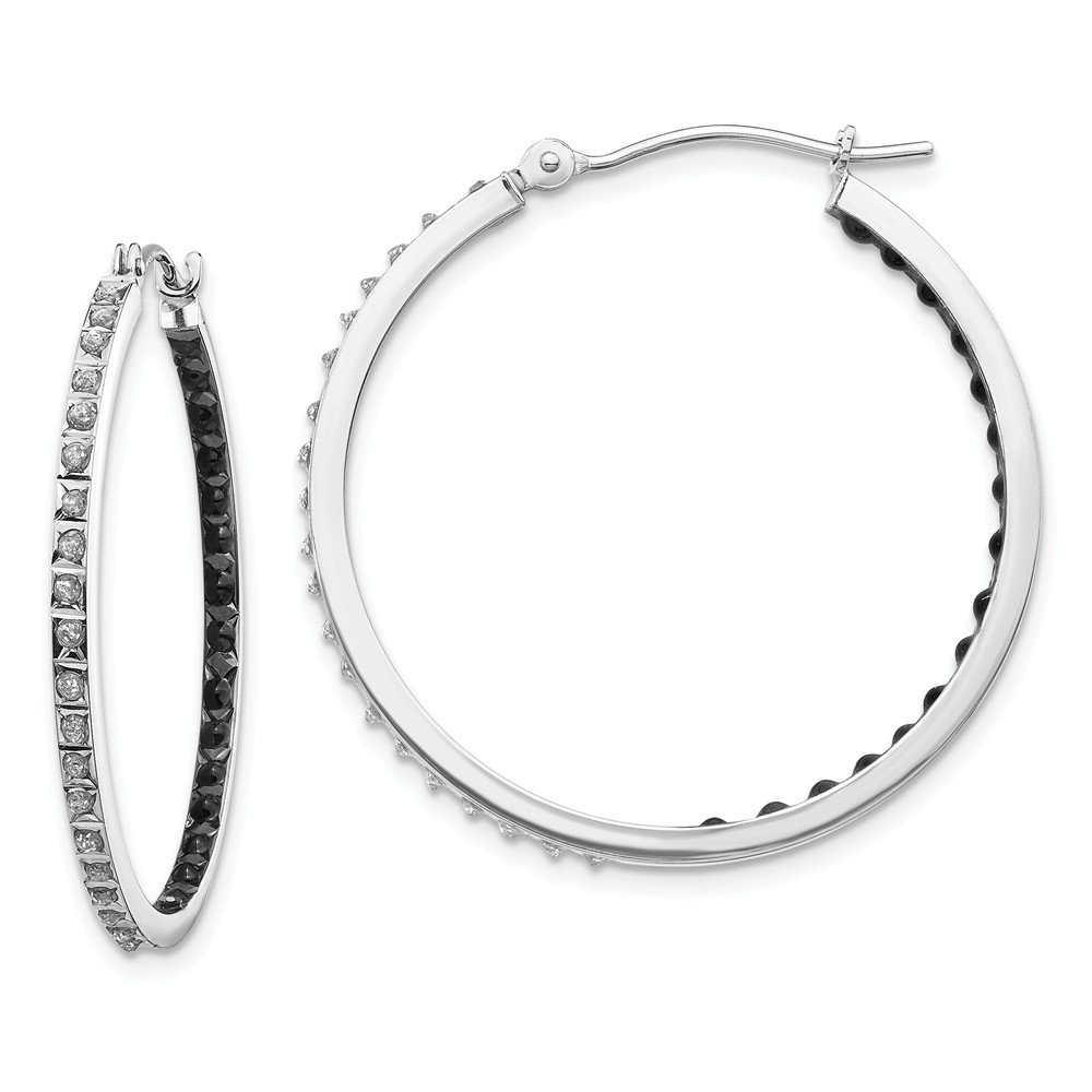 30mm x 2mm 0.01cttw Diamond Fascination Black and White Diamond Round Hinged Hoop Earrings Mia Diamonds 14k White Gold
