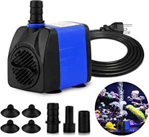 FREESEA 340-740 GPH Small Submersible Water Pump Adjustable Pond Pump Aquarium Pump Hydroponics Pump Fish Tank Pump Fountain Pump with 5.9ft Power Cord