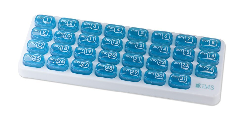 GMS 31 Day Pill Organizer with Daily Portable Pop-out Pods for Travel