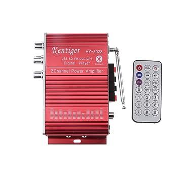 Hy-502s Fm Mp3 Altavoz Reproductor de Audio Amplificador Estéreo Bluetooth para Coche Rojo