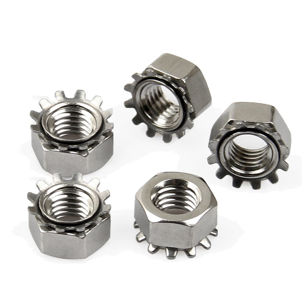 1/4-20 Stainless Steel Locknuts with External-Tooth Lock Washer, 20-pieces, Kep Nut HZ Ltd