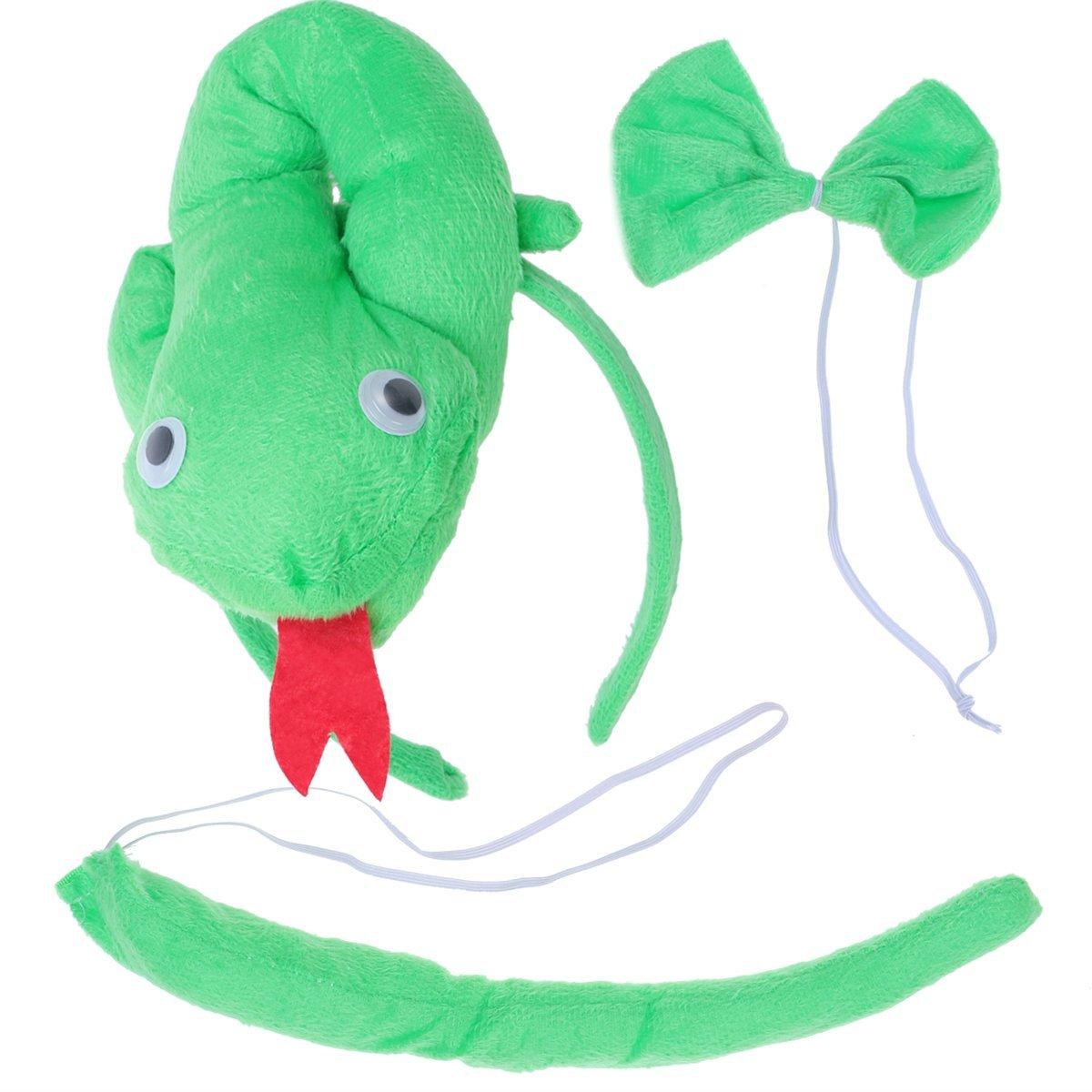 BESTOYARD Disfraz de Serpiente para Ni/ños Diadema Animal Conjunto de Orejas Animal Cola y Pajarita Traje de Costume para Halloween Fiesta 3 Piezas Serpiente