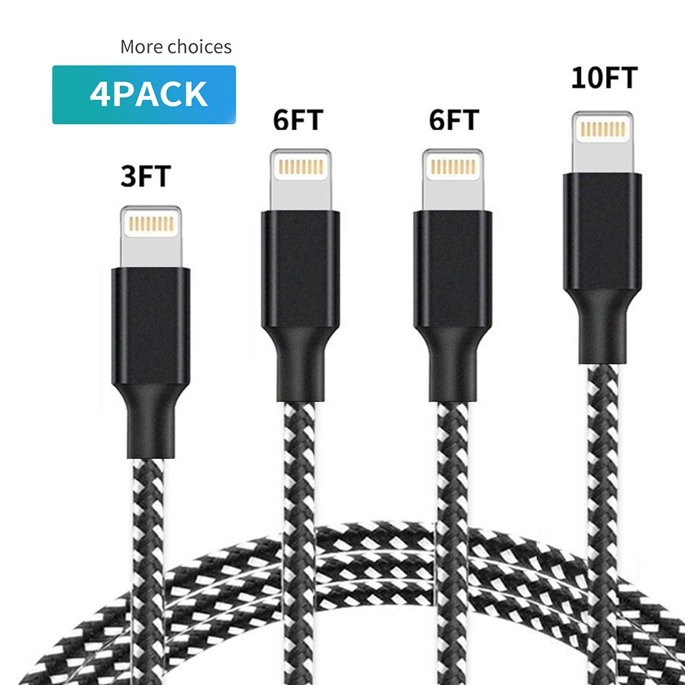 NinaJ iPhone Charger, 4Pack 3FT 6FT 6FT 10FT Nylon Braided USB Charging & Syncing Cord Compatible iPhone X/8/8 Plus/7/7 Plus/6s/6s Plus/6/6 Plus/5/5S/5C/SE/iPad (Black&White)