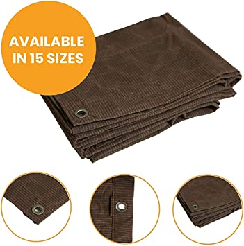 "Cut Size: 7x9, Finished Size: 6/'6x8/'6/"", Brown Canvas Tarp Heavy Duty Cotton Polyester Ripstop Tarpaulin Waterproof Mold /& UV Resistant with Rustproof Grommets Reinforced Edges /& Corners"