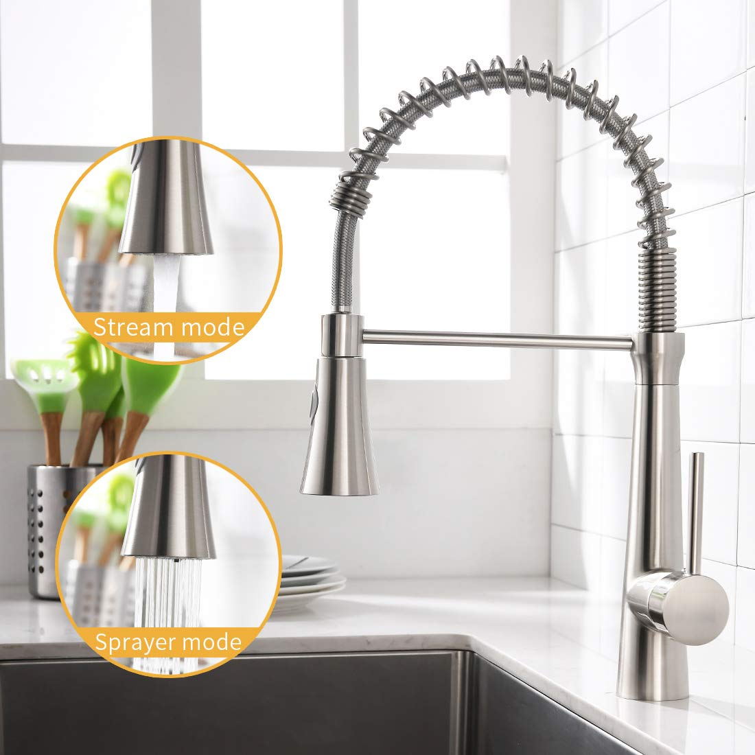WANMAI Spring Pull Down Kitchen Faucet, Commercial Single Handle Kitchen Sink Faucets with Dual-Functions Pull Down Sprayer, Brushed Nickel