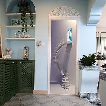 Vinilo Puerta Mural Pared Escalera De Caracol 3D Escalera De Caracol Casa De Papel Papel Pintado 95X215Cm: Amazon.es: Bricolaje y herramientas
