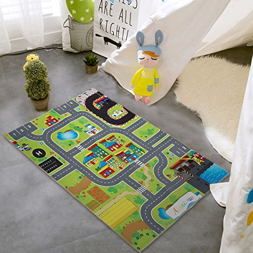 Cotton Playmat - Aissimio City Life Kids Children Playmat Carpet Road Rug Area Mat Great For Playing With Cars or Toys Safe Learn Educational Mat Ideal For Children Kids Play Room Game Mat 120x80cm