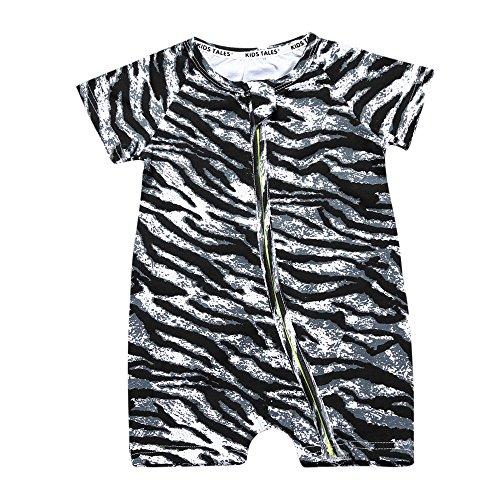 (Kids Tales Summer Baby Boy Short Sleeve Pajamas Boys Sleeper Zebra Zipper Romper )