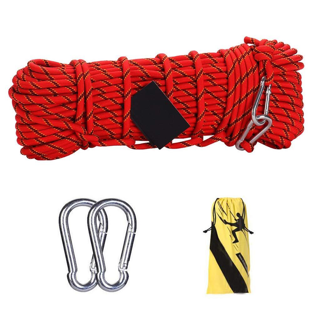 アウトドアクライミングロープ、10ミリメートル多機能物干しロープ安全救助ロープ緊急避難ロープハイキング用ケイビングキャンプエンジニアリング救助用具、赤,100m 100m  B07T496VDY