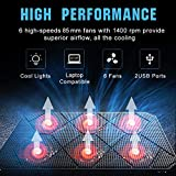 Pccooler Laptop Cooling Pad, Powerful Slim Quiet Laptop Cooler for Gaming Laptop - 6 Red LED Fans - Dual USB 2.0 Ports - Portable Height Adjustable Laptop Stand, Fits 12-17 Inches (PC-R6)